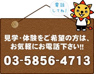見学・体験をご希望の方は、お気軽にお電話ください!!03-5856-4713